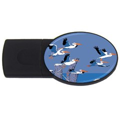 Abstract Pelicans Seascape Tropical Pop Art Usb Flash Drive Oval (2 Gb)  by WaltCurleeArt