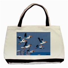 Abstract Pelicans Seascape Tropical Pop Art Basic Tote Bag by WaltCurleeArt