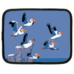 Abstract Pelicans Seascape Tropical Pop Art Netbook Case (xl)  by WaltCurleeArt