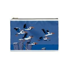 Abstract Pelicans Seascape Tropical Pop Art Cosmetic Bag (medium)  by WaltCurleeArt