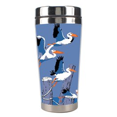 Abstract Pelicans Seascape Tropical Pop Art Stainless Steel Travel Tumblers by WaltCurleeArt