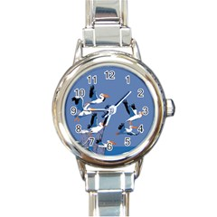 Abstract Pelicans Seascape Tropical Pop Art Round Italian Charm Watch by WaltCurleeArt