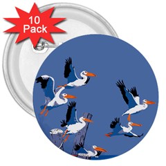 abstract Pelicans seascape tropical pop art 3  Buttons (10 pack)  by WaltCurleeArt