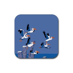 Abstract Pelicans Seascape Tropical Pop Art Rubber Coaster (square)  by WaltCurleeArt