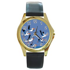 Abstract Pelicans Seascape Tropical Pop Art Round Gold Metal Watch by WaltCurleeArt
