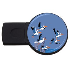 Abstract Pelicans Seascape Tropical Pop Art Usb Flash Drive Round (4 Gb)  by WaltCurleeArt