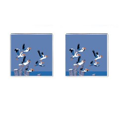 abstract Pelicans seascape tropical pop art Cufflinks (Square) by WaltCurleeArt