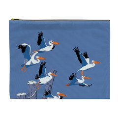 Abstract Pelicans Seascape Tropical Pop Art Cosmetic Bag (xl) by WaltCurleeArt