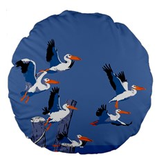 Abstract Pelicans Seascape Tropical Pop Art Large 18  Premium Round Cushions by WaltCurleeArt
