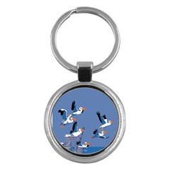 Abstract Pelicans Seascape Tropical Pop Art Key Chains (round)  by WaltCurleeArt