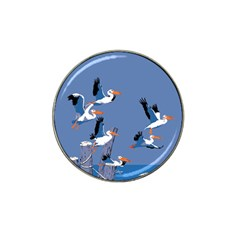Abstract Pelicans Seascape Tropical Pop Art Hat Clip Ball Marker (4 Pack) by WaltCurleeArt