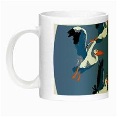 Abstract Pelicans Seascape Tropical Pop Art Night Luminous Mugs by WaltCurleeArt