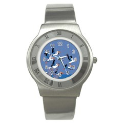 Abstract Pelicans Seascape Tropical Pop Art Stainless Steel Watch by WaltCurleeArt