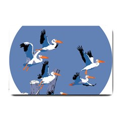 Abstract Pelicans Seascape Tropical Pop Art Small Doormat  by WaltCurleeArt