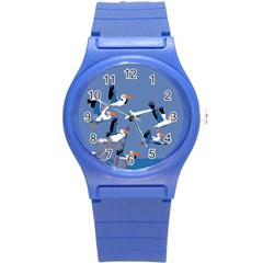 Abstract Pelicans Seascape Tropical Pop Art Round Plastic Sport Watch (s) by WaltCurleeArt