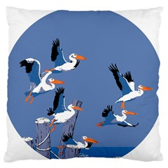 Abstract Pelicans Seascape Tropical Pop Art Standard Flano Cushion Case (one Side) by WaltCurleeArt