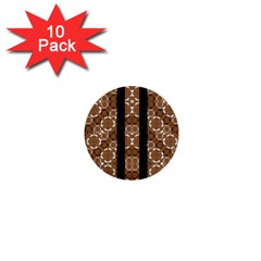 Orange And Black Boho Stripes 1  Mini Buttons (10 Pack)  by dflcprints