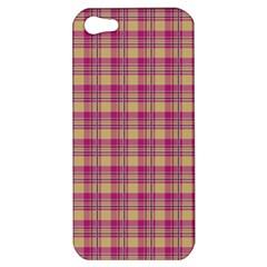 Pink Plaid Pattern Apple Iphone 5 Hardshell Case by TastefulDesigns