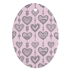 Sketches Ornamental Hearts Pattern Oval Ornament (two Sides) by TastefulDesigns