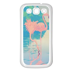 Two Pink Flamingos Pop Art Samsung Galaxy S3 Back Case (white) by WaltCurleeArt