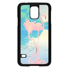 Two Pink Flamingos Pop Art Samsung Galaxy S5 Case (black) by WaltCurleeArt