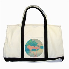 Two Pink Flamingos Pop Art Two Tone Tote Bag by WaltCurleeArt