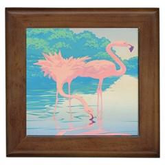 Two Pink Flamingos Pop Art Framed Tiles by WaltCurleeArt