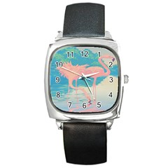 Two Pink Flamingos Pop Art Square Metal Watch by WaltCurleeArt