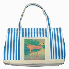 Two Pink Flamingos Pop Art Striped Blue Tote Bag by WaltCurleeArt