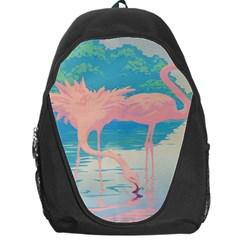 Two Pink Flamingos Pop Art Backpack Bag by WaltCurleeArt