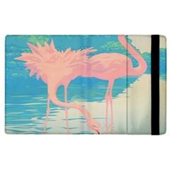 Two Pink Flamingos Pop Art Apple Ipad 2 Flip Case by WaltCurleeArt
