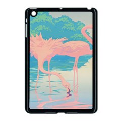 Two Pink Flamingos Pop Art Apple Ipad Mini Case (black) by WaltCurleeArt