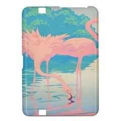 Two Pink Flamingos Pop Art Kindle Fire Hd 8 9  by WaltCurleeArt