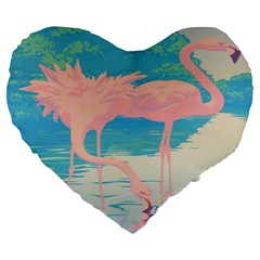 Two Pink Flamingos Pop Art Large 19  Premium Heart Shape Cushions by WaltCurleeArt