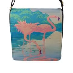 Two Pink Flamingos Pop Art Flap Messenger Bag (l)  by WaltCurleeArt