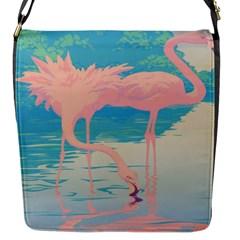 Two Pink Flamingos Pop Art Flap Messenger Bag (s) by WaltCurleeArt