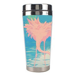 Two Pink Flamingos Pop Art Stainless Steel Travel Tumblers by WaltCurleeArt