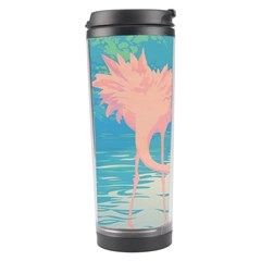 Two Pink Flamingos Pop Art Travel Tumbler by WaltCurleeArt