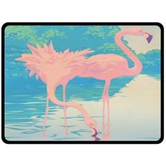 Two Pink Flamingos Pop Art Double Sided Fleece Blanket (large)  by WaltCurleeArt
