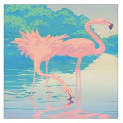 Two Pink Flamingos Pop Art Large Satin Scarf (square) by WaltCurleeArt