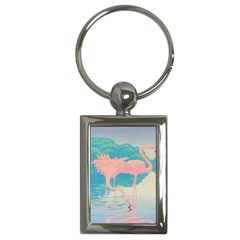 Two Pink Flamingos Pop Art Key Chains (rectangle)  by WaltCurleeArt