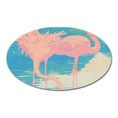 Two Pink Flamingos Pop Art Oval Magnet by WaltCurleeArt