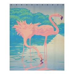 Two Pink Flamingos Pop Art Shower Curtain 60  X 72  (medium)  by WaltCurleeArt