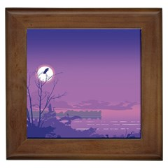 Abstract Tropical Birds Purple Sunset  Framed Tiles by WaltCurleeArt