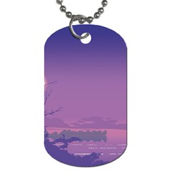 Abstract Tropical Birds Purple Sunset  Dog Tag (two Sides) by WaltCurleeArt
