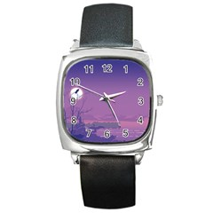 Abstract Tropical Birds Purple Sunset  Square Metal Watch by WaltCurleeArt