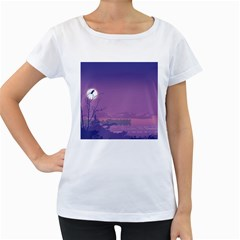 Abstract Tropical Birds Purple Sunset  Women s Loose-Fit T-Shirt (White) by WaltCurleeArt