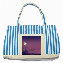 Abstract Tropical Birds Purple Sunset  Striped Blue Tote Bag by WaltCurleeArt