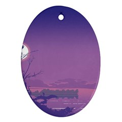 Abstract Tropical Birds Purple Sunset  Oval Ornament (two Sides) by WaltCurleeArt