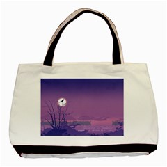 Abstract Tropical Birds Purple Sunset  Basic Tote Bag (two Sides) by WaltCurleeArt